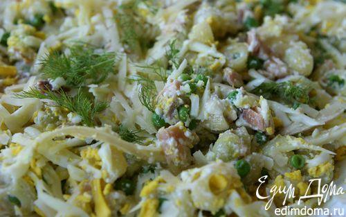 Рецепт Салат из макарон с копченой рыбой и фенхелем