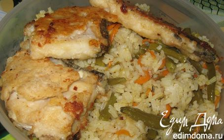 Рецепт Жареная морская рыба с рисом и овощами