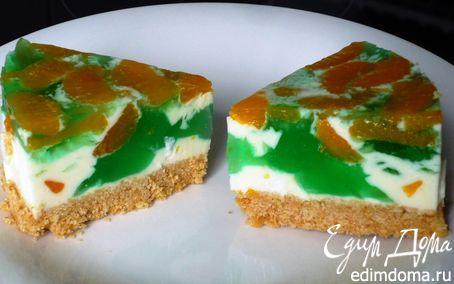 Рецепт Яркий мини - чиз-кейк с мандаринами и фруктовым желе