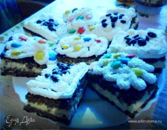 Бисквитные пирожные с творожной начинкой сметанным кремом