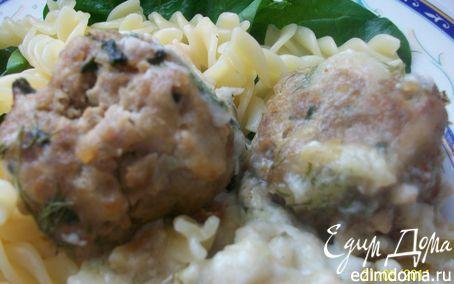 Рецепт Тефтели с сыром и шпинатом под молочно-сливочным соусом