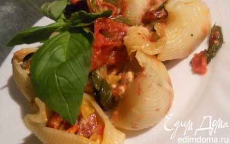 """Рецепт Паста """"ракушки"""" с колбасками, сладким перцем и маслинами"""