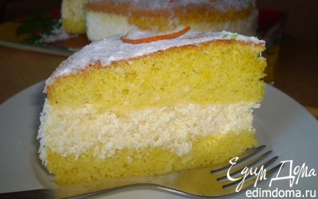 Рецепт Легкий бисквит с апельсиново-творожным кремом