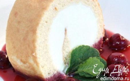 Рецепт Рулет с мороженым и легким вишневым сиропом
