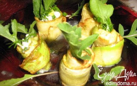 Рецепт Легкая закуска из кабачков, зелени и руколы