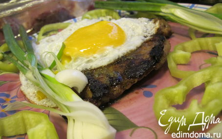 Рецепт Молодая говядина с розовым перцем,греческими специями и яйцом