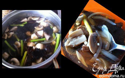 Рецепт Грибной супчик с морской капустой и телятиной