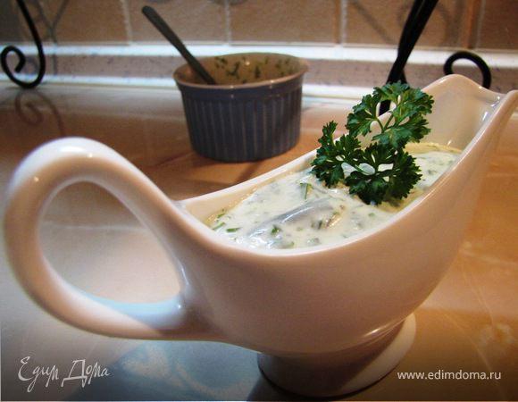Йогуртовый соус с руколой и кинзой для рыбы