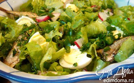 Рецепт Салат с редисом и шпротами