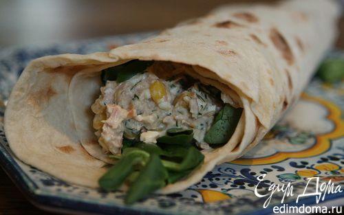 Рецепт Тортилья с тунцом, яйцом и сладкой кукурузой