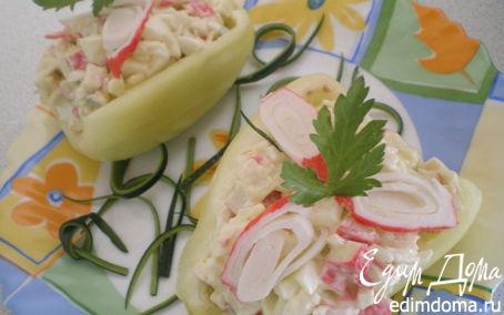 Рецепт Закусочные перчики с крабовым салатом.