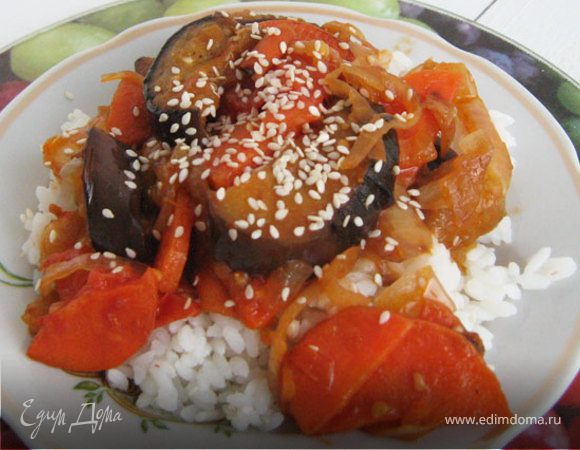 Овощи с рисом в японском стиле