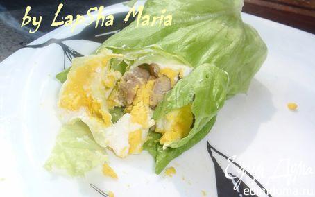 Рецепт Рулетик с мясом и яйцом в листовом салате на ланч