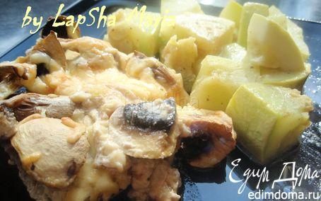 Рецепт Нежная свинина запеченная в сливках с грибами