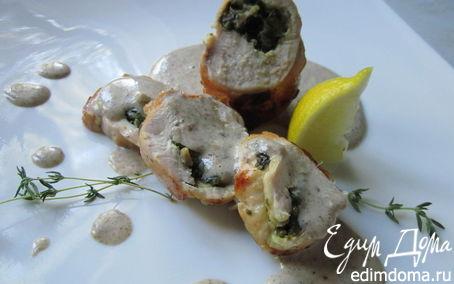 Рецепт Рулеты из куриных грудок со шпинатной начинкой и грибным соусом (обед во французском стиле № 2)