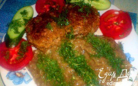 Рецепт Рубленое мясо с сыром и закуской из овощей