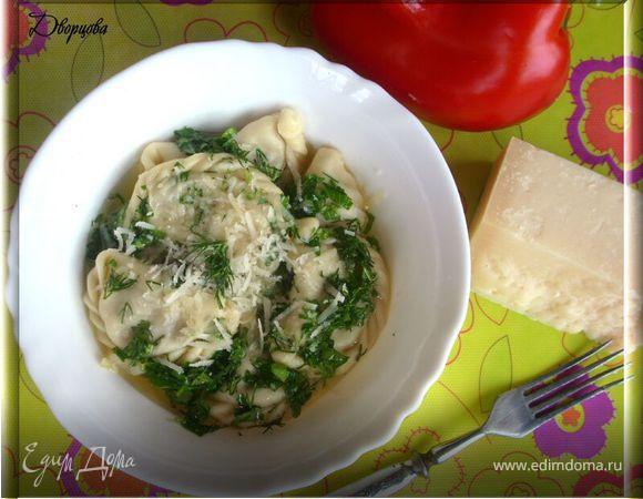 Равиоли с печёными овощами и сыром