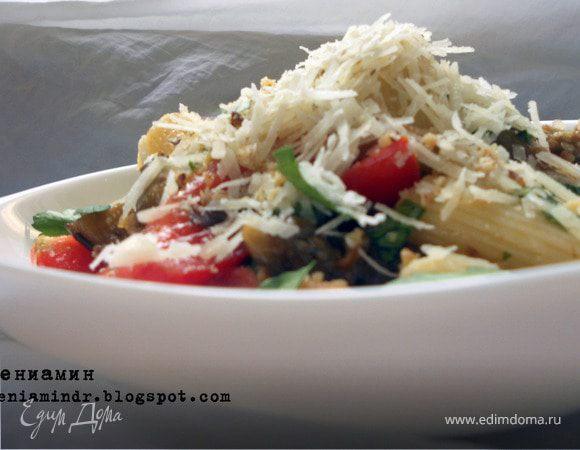 Летний салат с пастой и баклажанами