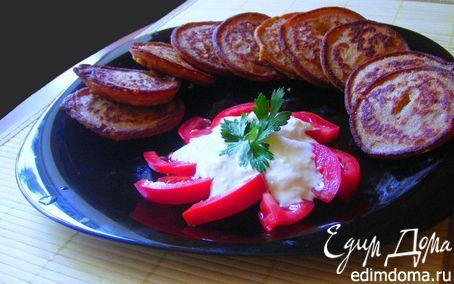 Рецепт Гречневые оладьи с сырно-чесночным соусом