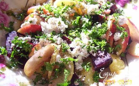 Рецепт Свекольный салат с творогом (диетическое меню)