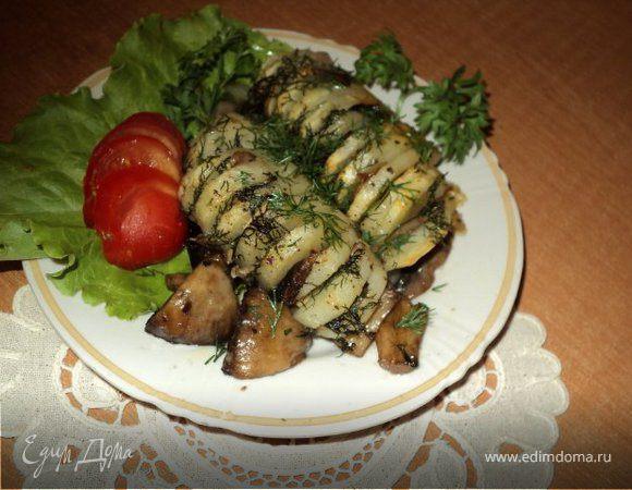 Картофельная «Гармошка» с грибами.