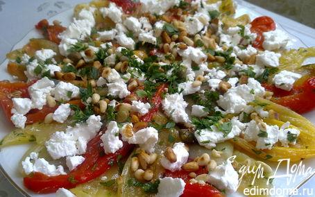 Рецепт Салат из обожженных перцев с брынзой