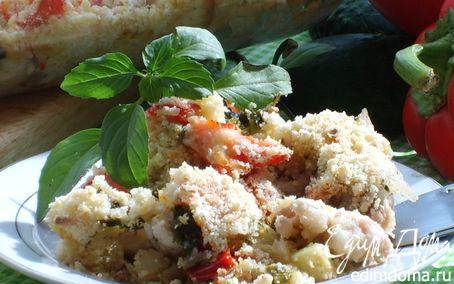 Рецепт Кунжутный крамбл с курицей и кабачками в сливочном соусе для Вениамина