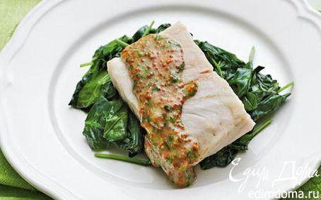 Рецепт Хек на пару с горчичным соусом и шпинатом в пароварке