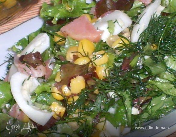 Салатный микс с семгой и яйцом