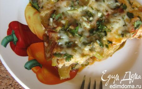 Рецепт Фриттата с кабачками,помидорами,зеленью и пармезаном