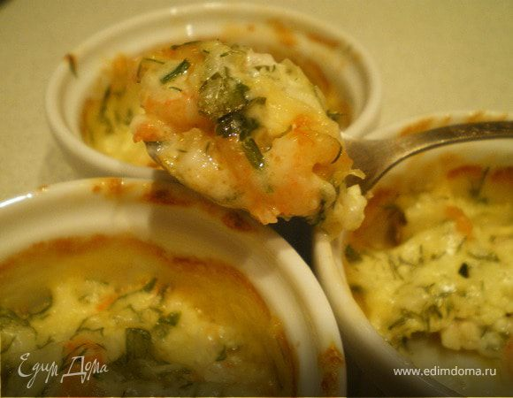 Креветки в сметанно-сырном соусе