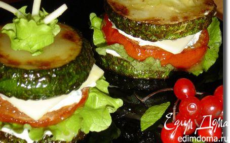 """Рецепт Закуска из овощей, творога и сыра """"Башенки"""""""