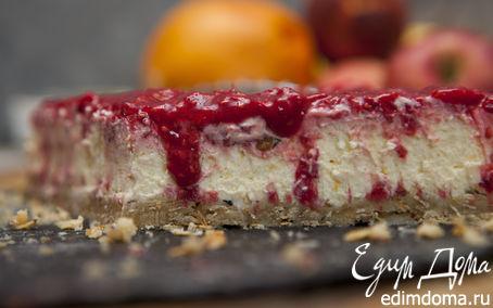 Рецепт Ванильный чизкейк с малиновым соусом от Джейми