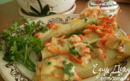 Рецепт Каннелони фаршированные грибами под томатным соусом