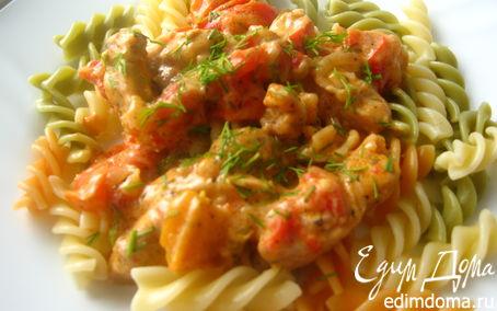 Рецепт Курица с овощами в сметано-томатном соусе