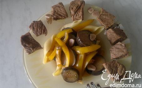 Рецепт Говядина гарам массала + макароны с баклажаном и перцем
