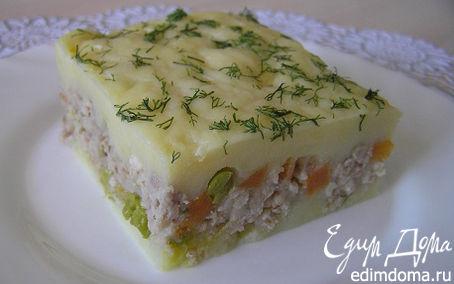 Рецепт Мясная запеканка с картофелем, имбирем и зеленым горошком