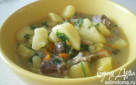Рецепт Картофель с куриными сердечками.