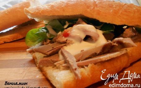 Рецепт Сэндвич с корном, языком и запеченым перцем