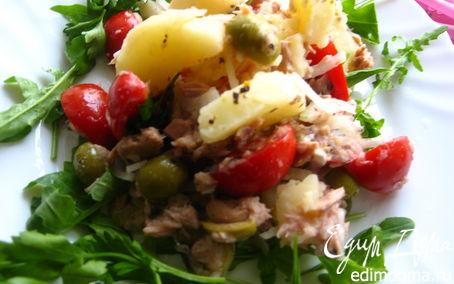 Рецепт Теплый салат с картофелем и тунцом