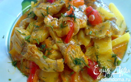 Рецепт Филе щуки тушеное с овощами.