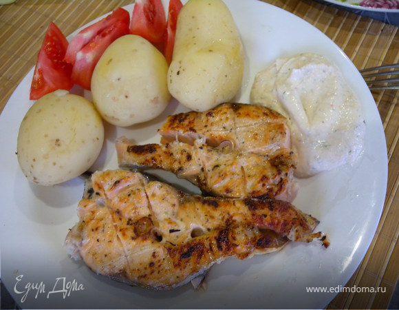 Мускатная рыба гриль + творожный соус