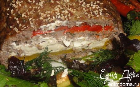 Рецепт Мясной многослойный хлебец. Пенне с вялеными помидорами.