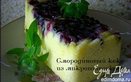 Рецепт Пирог-перевёртыш с чёрной смородиной из микроволновки