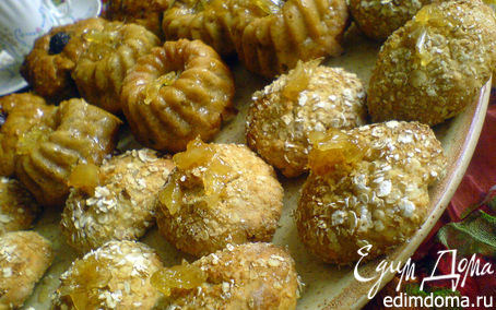 """Рецепт Фруктовые кексы с лимонной глазурью и печенье """"Золотистое"""" с овсяными хлопьями"""
