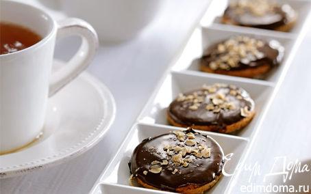 Рецепт Домашнее овсяное печенье с грецкими орехами