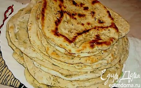 Рецепт Домашние лепешки с укропом и чесноком