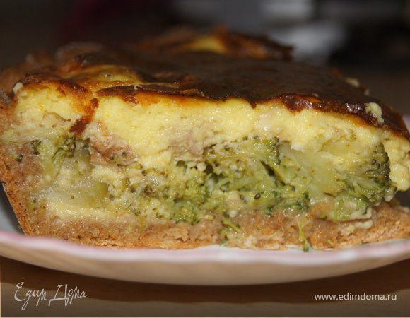 Открытый пирог с брокколи и сырной заливкой
