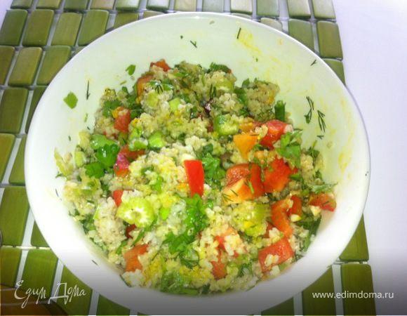 Горячий салат с ячневой крупой