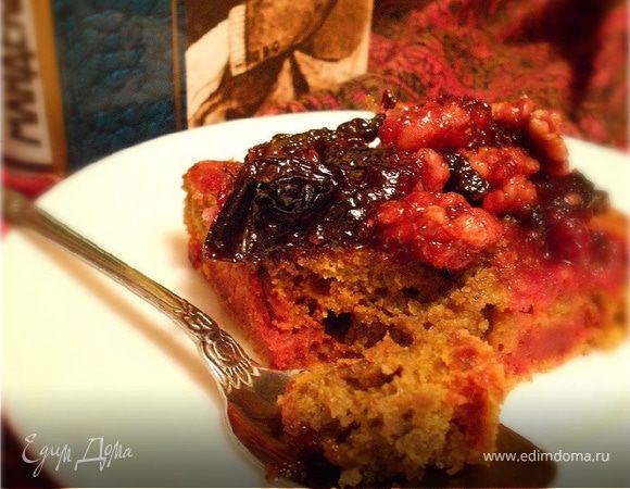 Пурпуровый(свекольный) кекс с черносливом и орехами